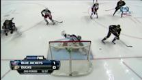 Bobrovsky stretches on one-timer for pad save