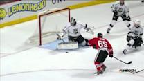 Martin Jones makes a sequence of leg saves
