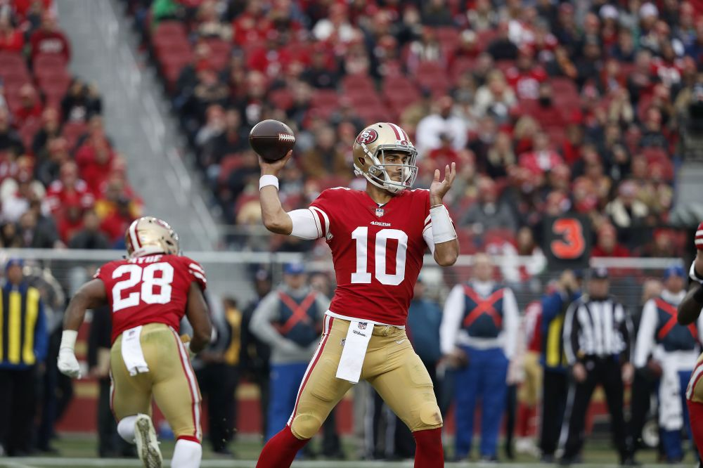 San Francisco 49ers quarterback Jimmy Garoppolo was involved in perhaps the biggest trade of 2017. (AP)