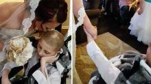Heart-wrenching moment 12-year-old boy with cancer escorts his mother down the aisle