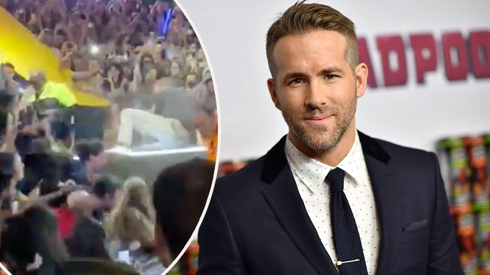 Ryan Reynolds narrowly avoids being crushed by falling barrier