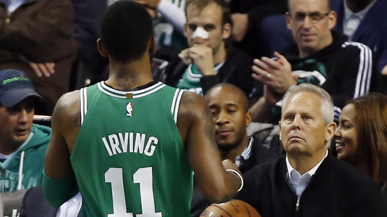 Danny Ainge, back at work for Celtics, shouts out Kyrie Irving on Twitter