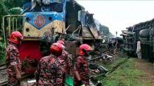 Video captures horrific crash as two trains collide head-on