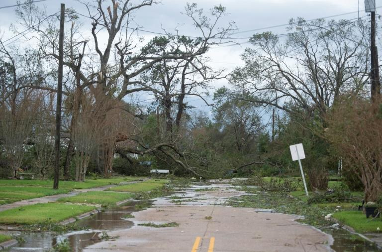 A road blocked off trees after Hurricane Laura in Lake Charles, Louisiana