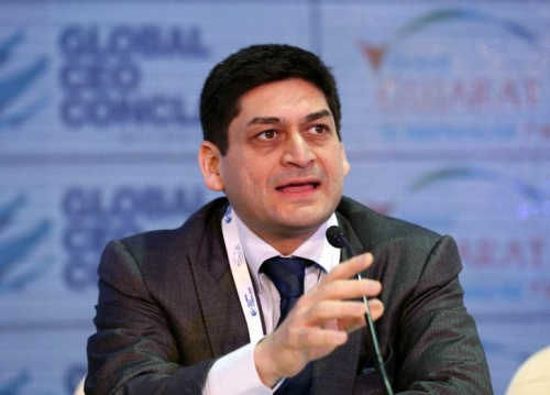 Chief Executive of the Essar group Prashant Ruia speaks with the media during the Global CEO Conclave at the Vibrant Gujarat Summit in Gandhinagar