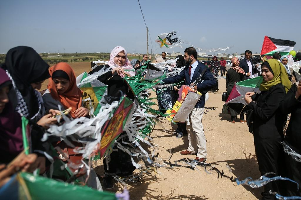 Palestinian plan a six-week protest camp near the border between the Gaza Strip and Israel which organisers say will be peaceful but Israeli officials are wary of a fresh border flare-up (AFP Photo/MOHAMMED ABED)