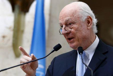 Staffan de Mistura United Nations Special Envoy for Syria addresses a news conference after a meeting of the Task Force for Humanitarian Access at the U.N. in Geneva, Switzerland, March 3, 2016. REUTERS/Denis Balibouse