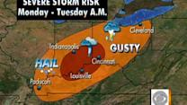 Severe storm warnings in Ohio valley