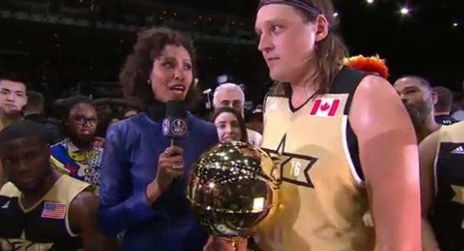 Sage Steele Cuts Off Win Butler For Getting Political During His Celebrity Game MVP Speech