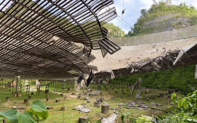 The damaged Arecibo Observatory