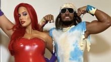 Pregnant Ashley Graham dresses up as 'knocked up' Jessica Rabbit in skintight latex for Halloween