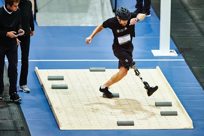 Billy Costello, one of four pilots representing Icelandic team Ossur, competing in the powered leg prosthetics race.