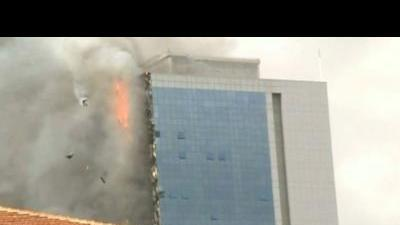 High rise in flames in Istanbul