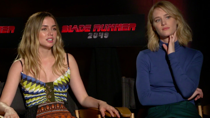 The stars of 'Blade Runner 2049' discuss the process behind that trippy threesome scene