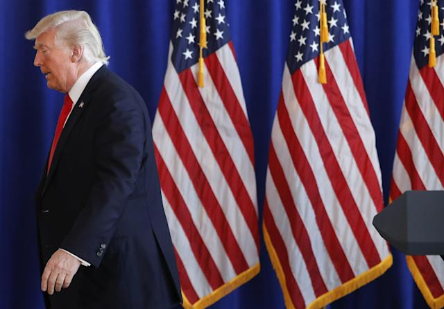 President Donald Trump walks away after commenting the on going situation in Charlottesville: AP
