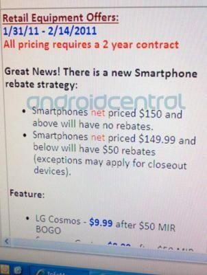 Verizon dumping some mail-in rebates, going with lower upfront prices instead?