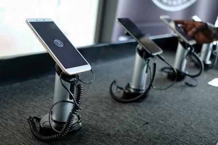 Mara X and Mara Z smartphones are seen on display during their launch by Rwanda's Mara Group in Kigali