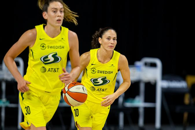 Oct 2, 2020; Bradenton, Florida, USA; Seattle Storm guard Sue Bird (10) drives during game one of the WNBA finals against the Las Vegas Aces at IMG Academy. Mandatory Credit: Mary Holt-USA TODAY Sports