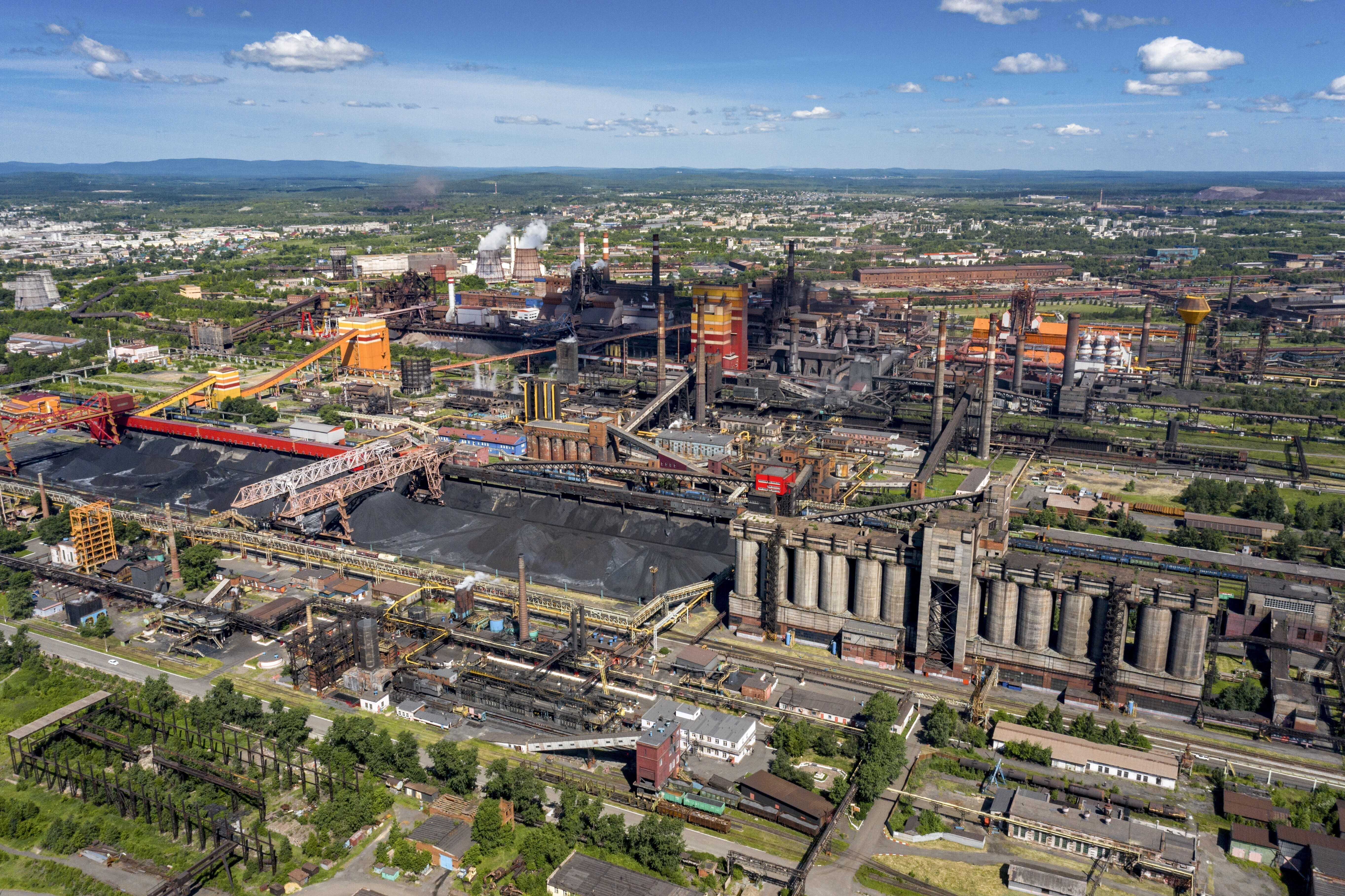 """This June 6, 2020, photo, shows the industrial area of Nizhny Tagil, some 1,400 kilometers (870 miles) east of Moscow, Russia. In 2011, the city became known as """"Putingrad"""" for its residents' fervent support of Russian President Vladimir Putin. Workers who once defended Putin now are speaking out against the constitutional reforms that would allow him to stay in office until 2036, saying economic conditions have worsened during his tenure. (AP Photo/Anton Basanayev)"""