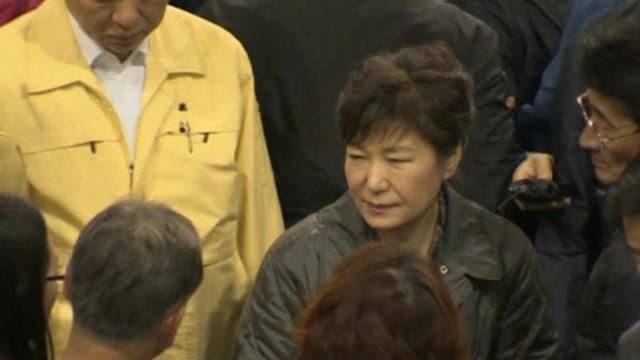 South Korean president visits submerged ferry