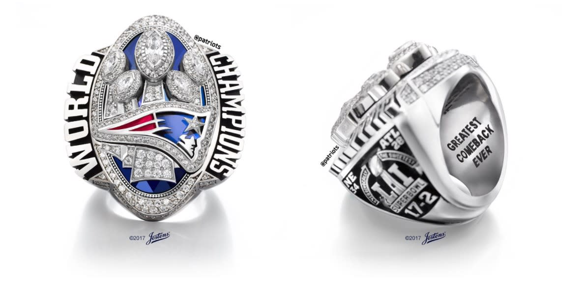 Patriots Show Off New Super Bowl Championship Rings And