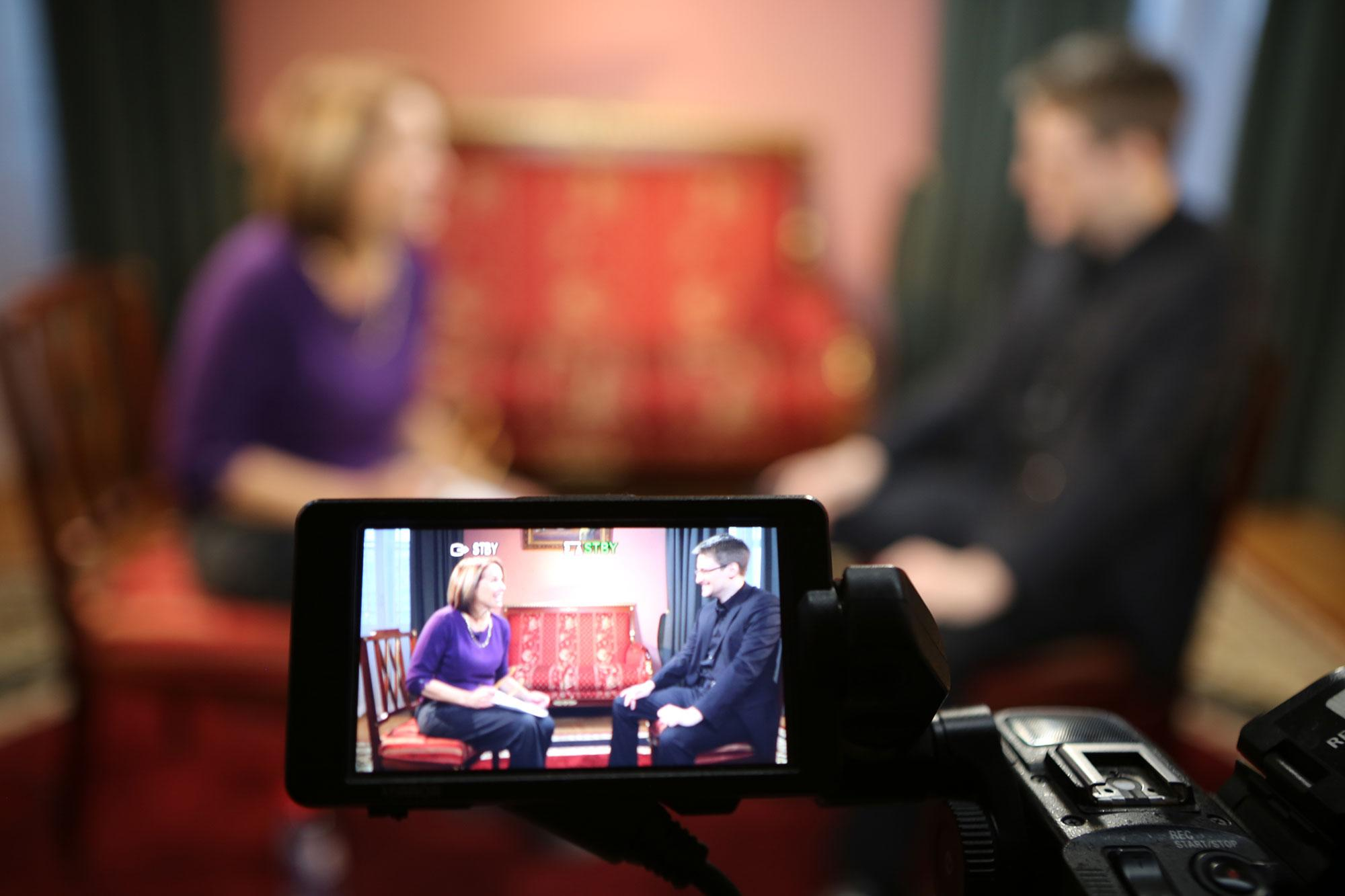 <p>The video display is seen as Yahoo Global News Anchor Katie Couric interviews Edward Snowden in Moscow on December 3, 2016. (Photo: Brad Williams/Yahoo News) </p>
