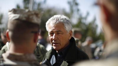 Raw: Hagel Meets With Afghan, U.S. Troops