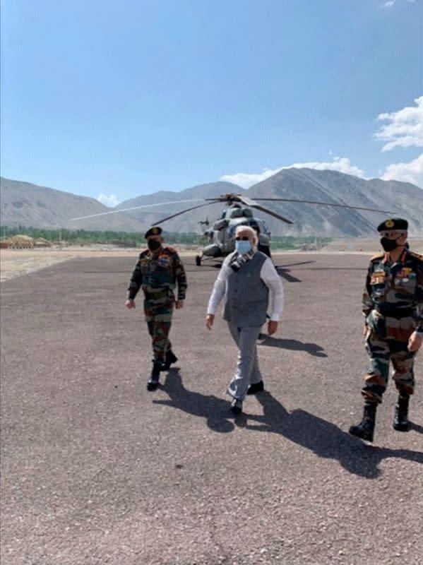 India's Prime Minister Narendra Modi visits India's Himalayan desert region of Ladakh