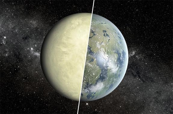 Despite being similar sizes, Earth (right half) and Venus (left half) have different surface conditions, a fact that has implications in the search for an Earth-like exoplanet.