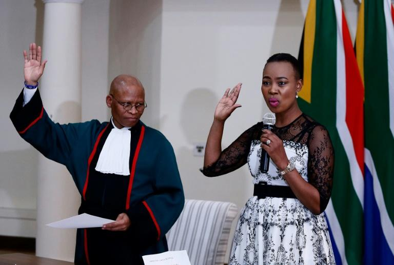 South African Communications Minister Stella Ndabeni-Abrahams, pictured on May 30 last year as she was sworn into office