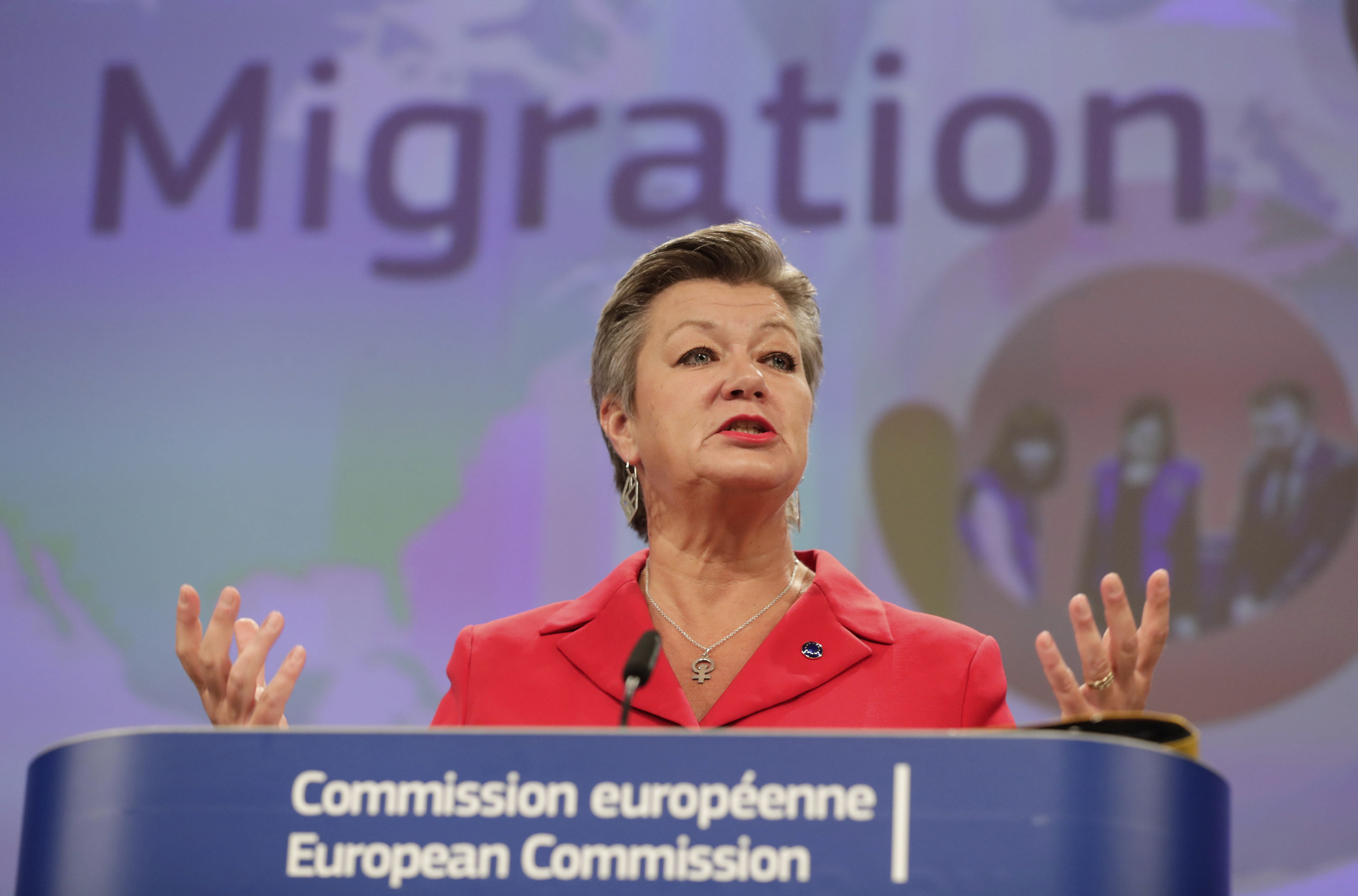 European Commissioner for Home Affairs Ylva Johansson, speaks during a media conference on the New Pact for Migration and Asylum at EU headquarters in Brussels, Wednesday, Sept. 23, 2020. (Stephanie Lecocq, Pool via AP)