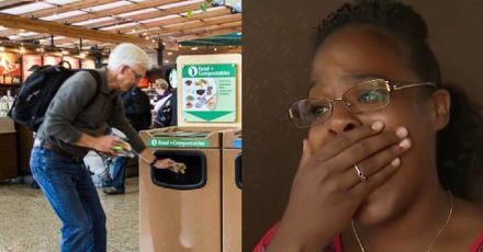 Crying Man Is Forced To Toss Item In Airport Trash