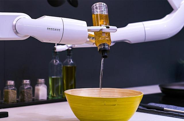 I skipped breakfast, but Samsung had a robot make me a salad