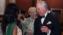Camilla, Duchess of Cornwall glitters in green at Buckingham Palace evening reception