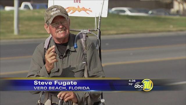 Man on Love Life Walk passes through Fresno County