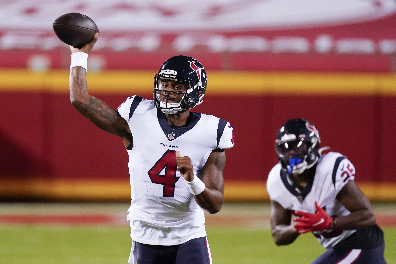 Houston Texans quarterback Deshaun Watson (4) passes against the Kansas City Chiefs in the first half of an NFL football game Thursday, Sept. 10, 2020, in Kansas City, Mo. (AP Photo/Charlie Riedel)