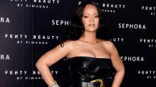Rihanna Rocks An 80s-Inspired Leather Minidress