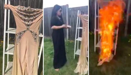 Aryana Sayeed burns dress