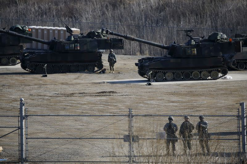 FILE PHOTO: U.S. Army M109A6 Paladin self-propelled howitzers are seen during a military exercise in Pocheon