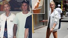Hailey Baldwin shows off her engagement ring in New York