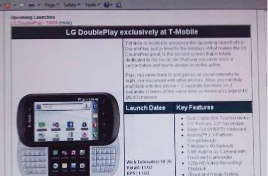 LG DoublePlay likely to see single release for T-Mobile on October 26th