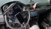Canadian driver caught with phone and tablet tied to steering wheel