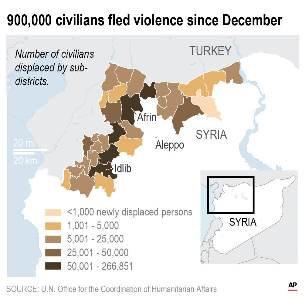 Since December some 900,000 people fled from their homes in northwest Syria.;