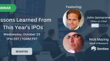 Webinar: Sentieo and IPO Edge to Discuss Lessons Learned from 2019 IPOs