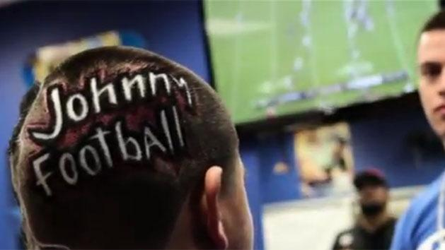 Crazy fan's Johnny Football haircut