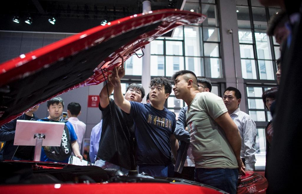 Visitors look at cars by US carmaker Ford during the 17th Shanghai International Automobile Industry Exhibition