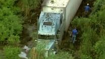 Raw: Big Rig Stuck in Illinois Swamp