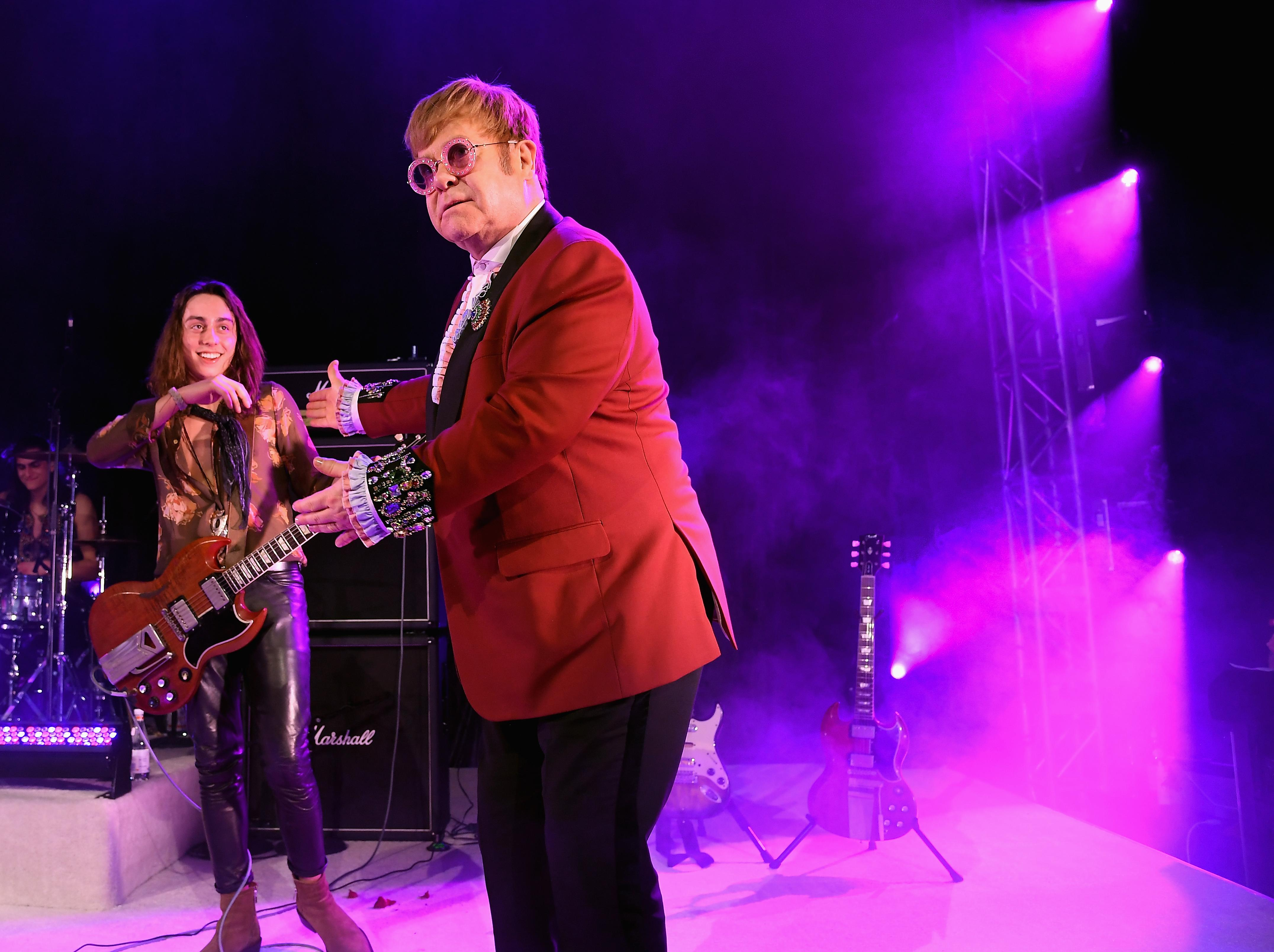 Watch Elton John jam with the 'amazing' Greta Van Fleet at his Oscars party
