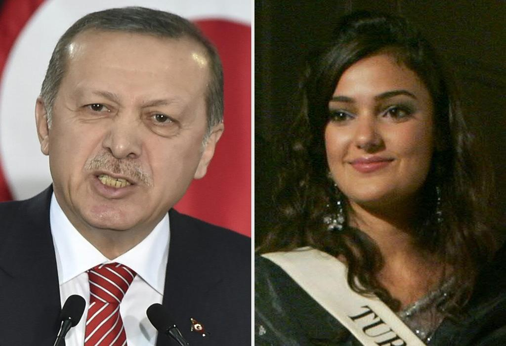 Turkish model Merve Buyuksarac (R) says she did not intend to insult Turkish President Recep Tayyip Erdogan with a poem she posted on her Instagram account