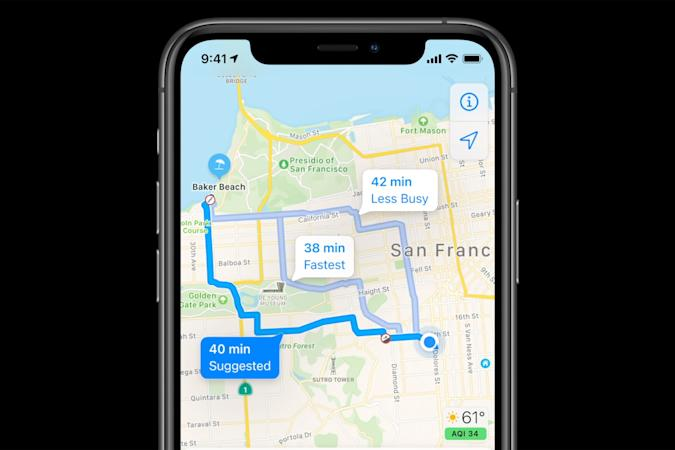Apple Maps cycling directions in iOS 14